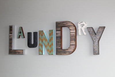 "Laundry room sign in ""wood"" and ""metal"""