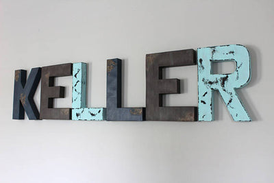 Blue and navy nursery wall letters spelling KELLER.