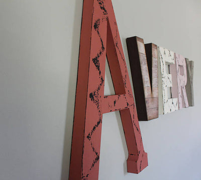 "Large girl room letters in pink, coral, grey and distressed ""wooden"" letters"