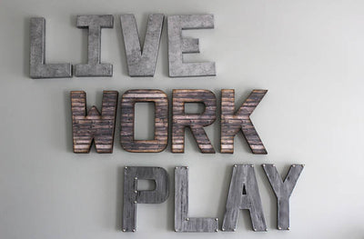 "Office decor ""metal"" and ""wood"" letters LIVE WORK PLAY"