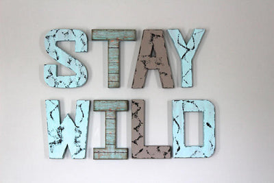 letters for room decor stay wild in blue and gray