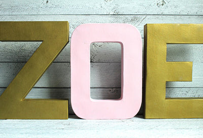Room Name Letters for ZOE in pink and gold