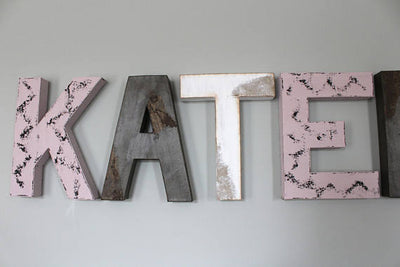 "Pink, brown, and white girls room name Katelyn ""wooden"" distressed letters"