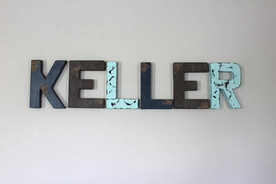 Baby Boy Nursery Room Faux Wooden Letters in a distressed wood style.