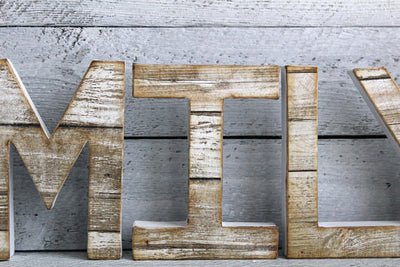 "Reclaimed ""wooden"" family letters"