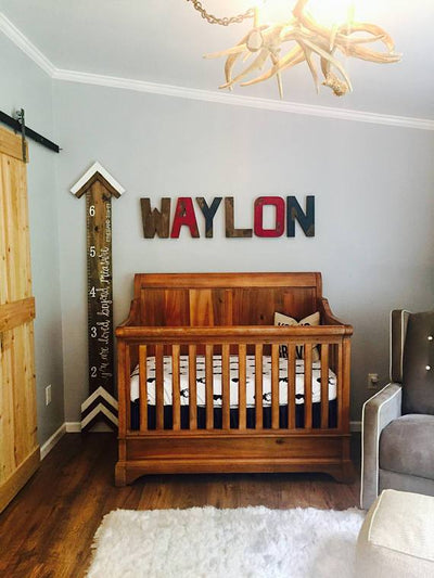 Camping theme nursery wall letters spelling out Waylon in brown, red, and navy colors.