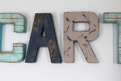 Carter name letters in teal/aqua, navy, and gray for camping themed nurseries.
