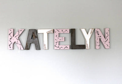 Katelyn name letters in pink distressed with black