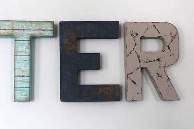 Signs for boys room distressed wall letters in aqua, teal, navy, and gray.