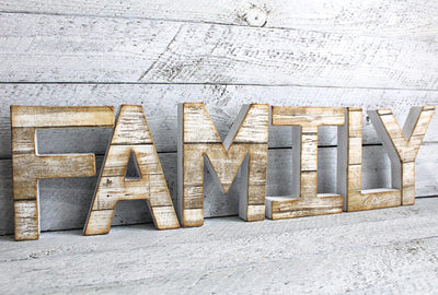 "Freestanding family name letters in a reclaimed ""wood"" look"