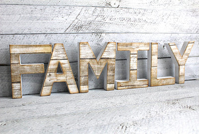 "White ""wooden"" family sign"