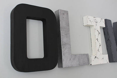 "Black, silver 'metal"", and white nursery letters"