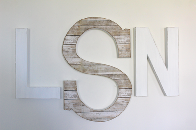 Monogram nursery wall decor with the letters LSN.