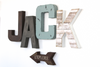 Rustic wall letters spelling out the name JACK for boys room wall decor.