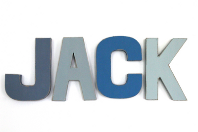 """Wooden"" boys room name letters spelling out the name Jack in different colors of blue."