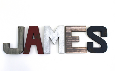 James name letters for boys nursery decor.