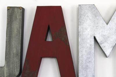 Name letters for boys nursery decor in silver and red.