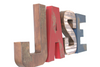 Rustic woodland nursery letters spelling out Jase in browns, red, and navy blue.