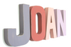 "Pastel ""wooden"" girls room name letters spelling out the name JOAN in pinks and purples."