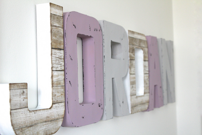 Girls beach themed room wall letters spelling out the name Jordan.