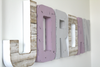 Nautical beach theme room letters in purple and gray spelling out the name Jordan.