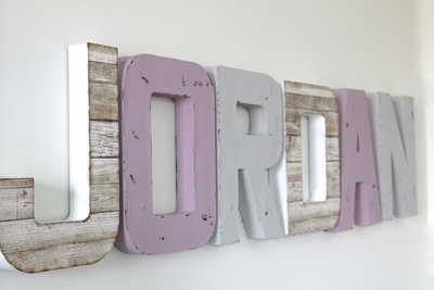 Girl room name wall letter sign.