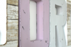 "Pink and gray ""wooden"" beach style room letters."