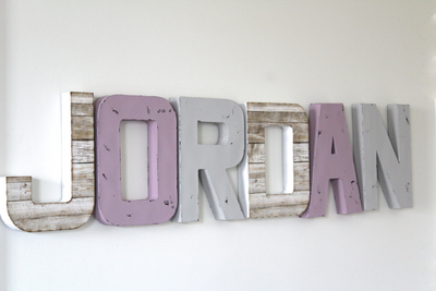 """Wooden"" wall letters for girls rooms and nurseries."