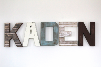 Kaden name letters for boys room wall decor and farmhouse nursery decor.