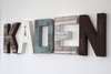 laden letters on the wall in a farmhouse wooden style
