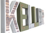 "Industrial ""metal"" letters in green and silver nursery name letters spelling out the name Keller."