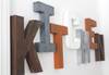 "Kitchen wall letters in different ""wooden"" and ""metal"" styles and colors."