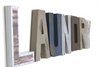 "Laundry room wall sign letters in different ""metal"" and ""wooden finishes."