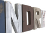 """metal"" and ""wooden"" wall letters for laundry room wall decor."
