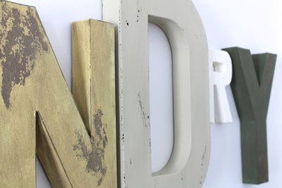 "Shabby chic ""wooden"" laundry room sign wall letters in yellow, white, and brown."