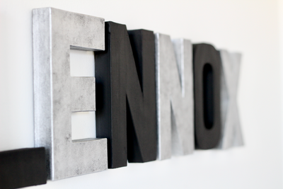 Modern letters for modern playroom decor spelling out Lennox.