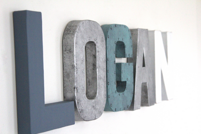 Little boys room name sign spelling out the name Logan in blue, aqua, silver, and white.