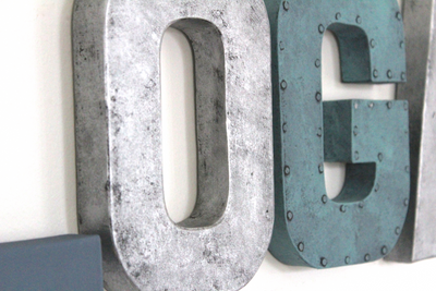 Boy nursery sign letters in silver and blue colors.