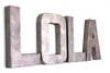 "Rose gold ""metal"" girl nursery decor letters spelling out LOLA."