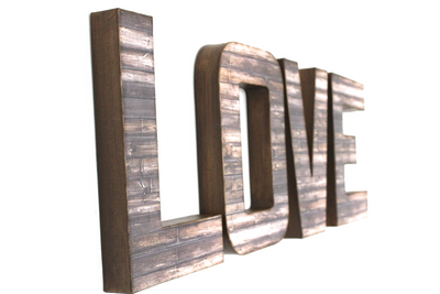 Rustic farmhouse love wall letters.