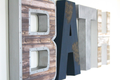 Bathroom wall letters for industrial farmhouse bathroom wall decor.