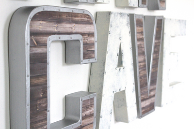 Rustic and industrial man cave wall sign in white and silver.