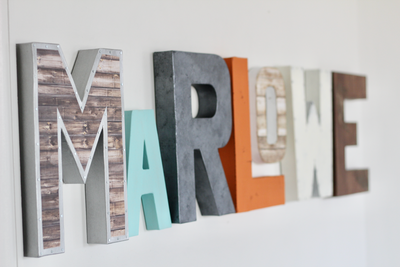 Baby name letters spelling out Marlowe.