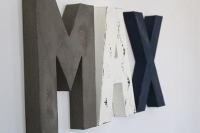 Nursery letters for baby boy wall signs in gray, white, and navy distressed letters.