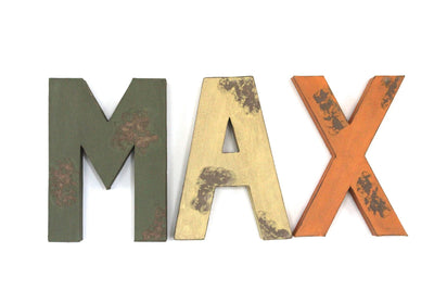 Max safari themed nursery distressed letters in green, yellow, and orange colors.
