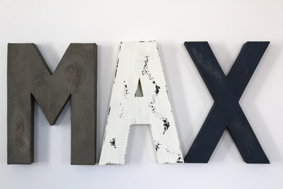 """Wooden"" Nursery Room Letters Spelling out MAX"
