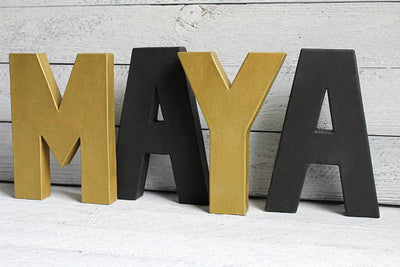 "MAYA name sign for girls room with gold ""metal"" letters and black ""wooden"" letters"
