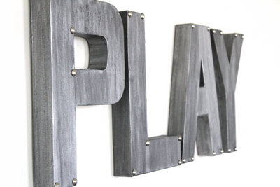 "silver ""metal"" play letters for playroom decor."