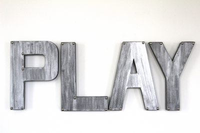 """metal"" play letters for playroom decor."