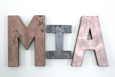 Chic Room Letters in Rose Gold and Pink Spelling out Mia.
